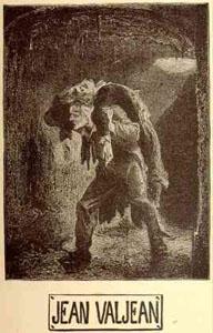 Jean Valjean carries Marius through the sewers of Paris