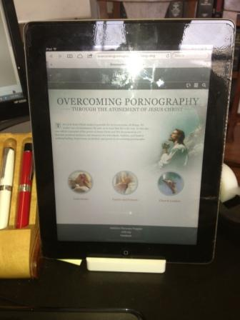 iPad pic of Church's new website overcomingpornography-org